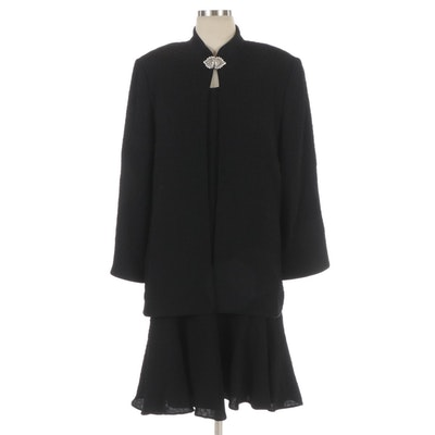 Ildi Marshall Black Textured Dress Set with Embellished Jacket Closure