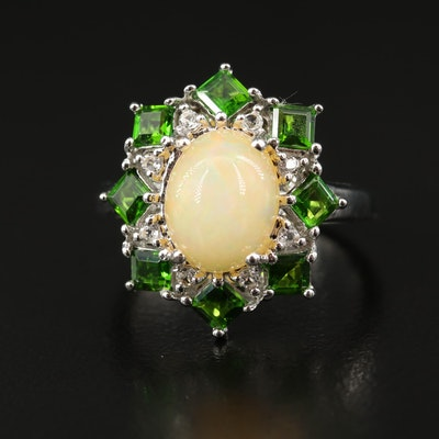Sterling Silver Opal, Diopside and White Topaz Ring