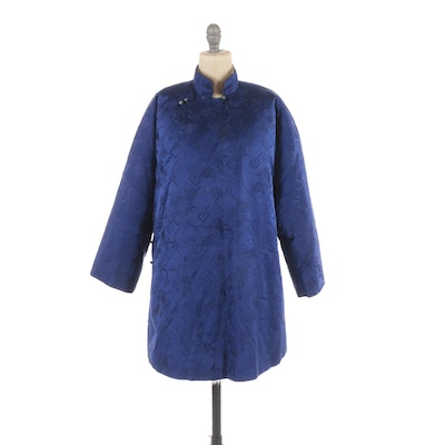 Chinese Blue Silk Brocade Sheep and Rabbit Fur Lined Jacket
