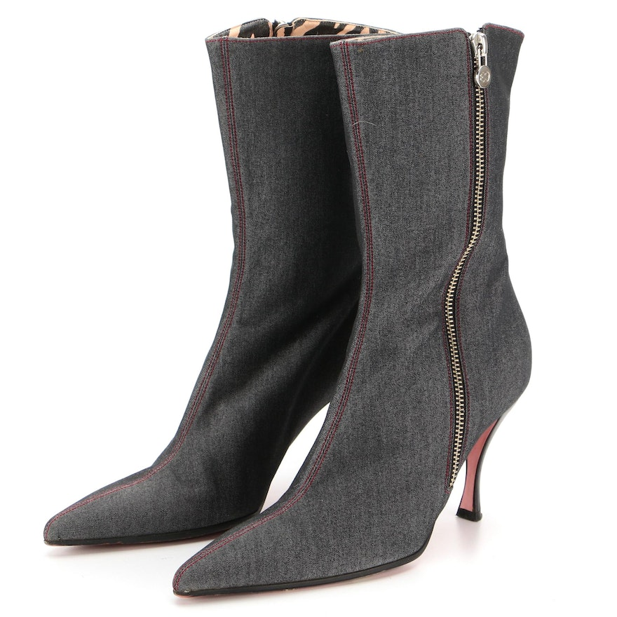 Escada Textile Ankle Mid-Calf Pointed Toe Zip Boots