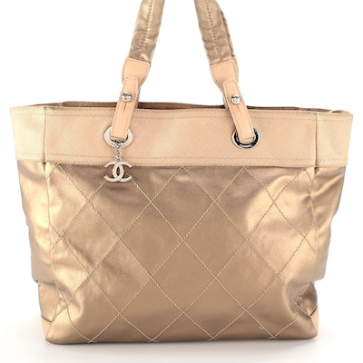 Chanel Metallic Quilted Coated Canvas Paris Biarritz XL Tote Bag