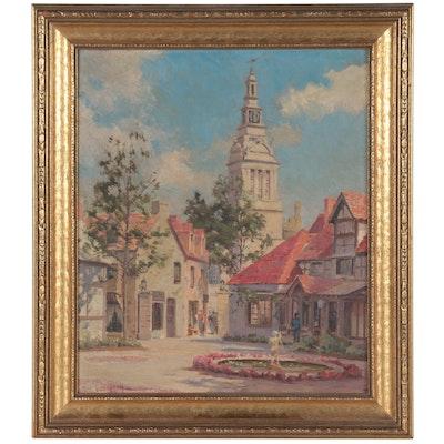 Max Gundlach Oil Painting of the Chicago World's Fair, Circa 1934