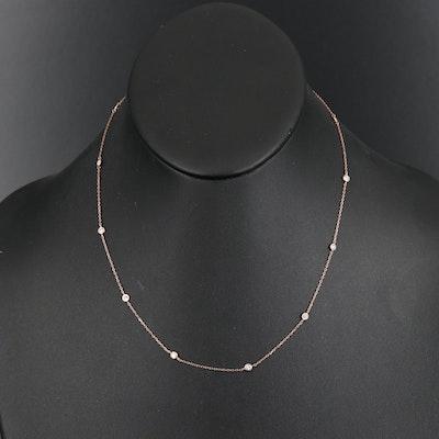 18K Rose Gold Diamond Station Necklace