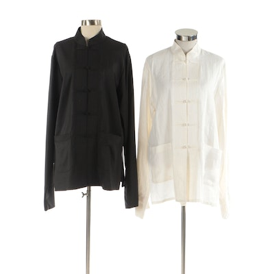 Tang Jackets with Frog Closures in Off-White and Dark Gray
