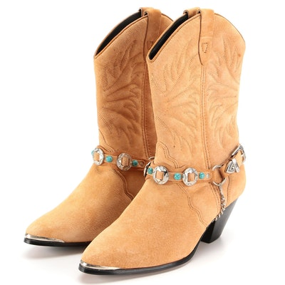 American West Trading Co. Suede Pull-On Harness Strap 541 Boots with Box