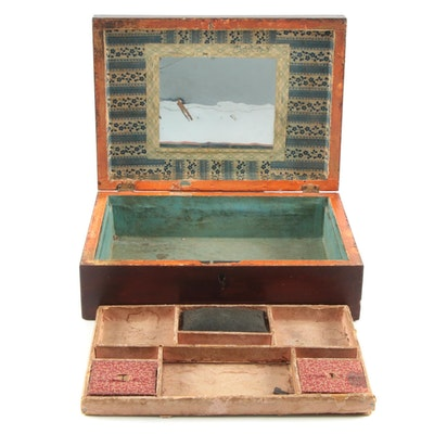 Inlaid Wood Jewelry Box with Lined Compartments and Mirror, Early 20th Century