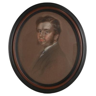 Anthony de Solomé Portrait Pastel Drawing of a Gentleman, 1859