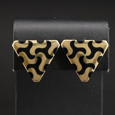 18K Black Onyx Inlay Geometric Earrings