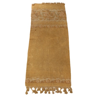 Mustard Colored Chenille Table Runner with Tassels