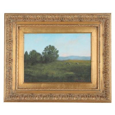 Pastoral Landscape Oil Painting, Circa 2000
