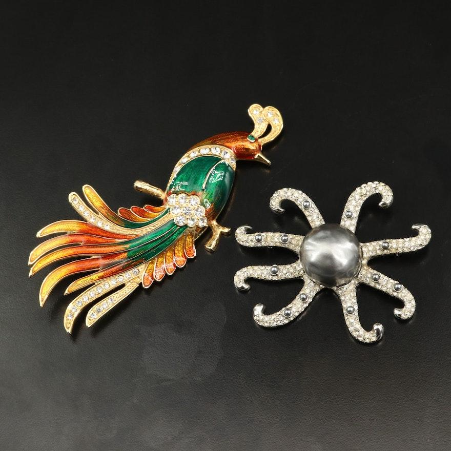 Kenneth Jay Lane Rhinestone Octopus Brooch with Enamel Bird Brooch
