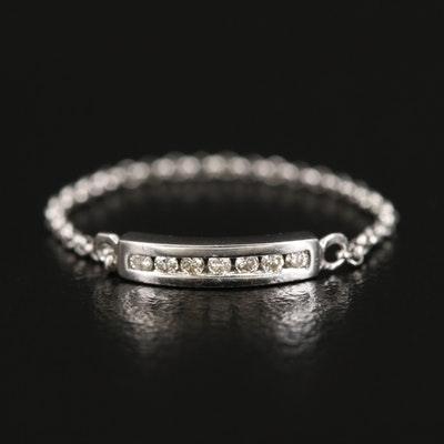 14K Diamond Channel Bar and Chain Ring