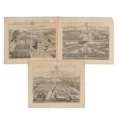 Jan Kip Bird's Eye View Copperplate Engravings of Estates