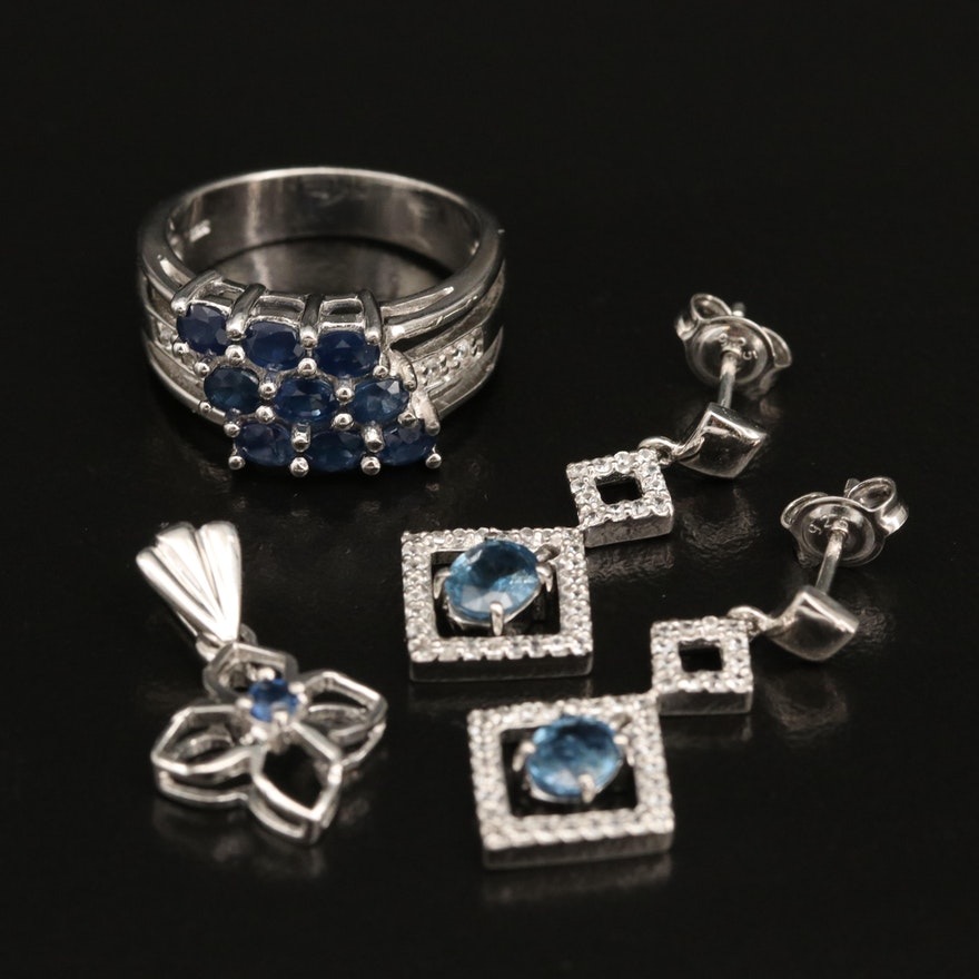 Sterling Silver Sapphire and Zircon Drop Earrings, Ring and Pendant