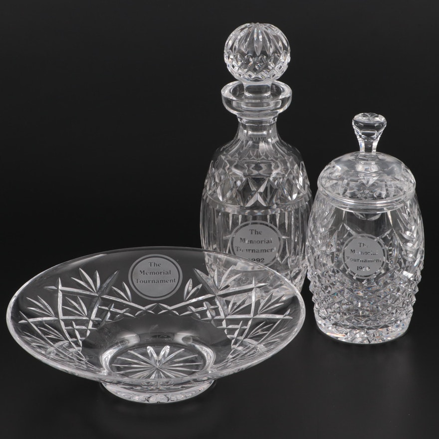 Waterford Crystal Trophy Decanters and Bowl, Late 20th Century
