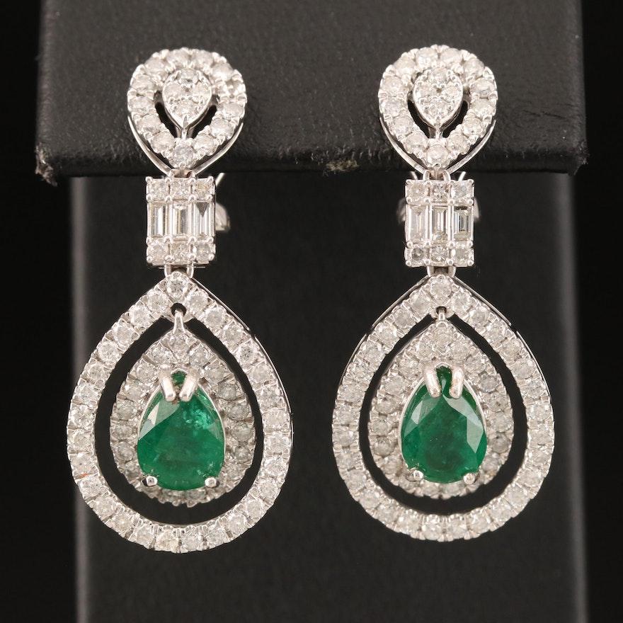 14K 2.29 CTW Emerald and 2.36 CTW Diamond Earrings