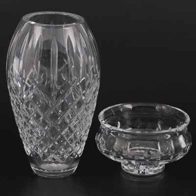 """Waterford Crystal """"Lismore"""" Vase and Footed Bowl, Late 20th Century"""