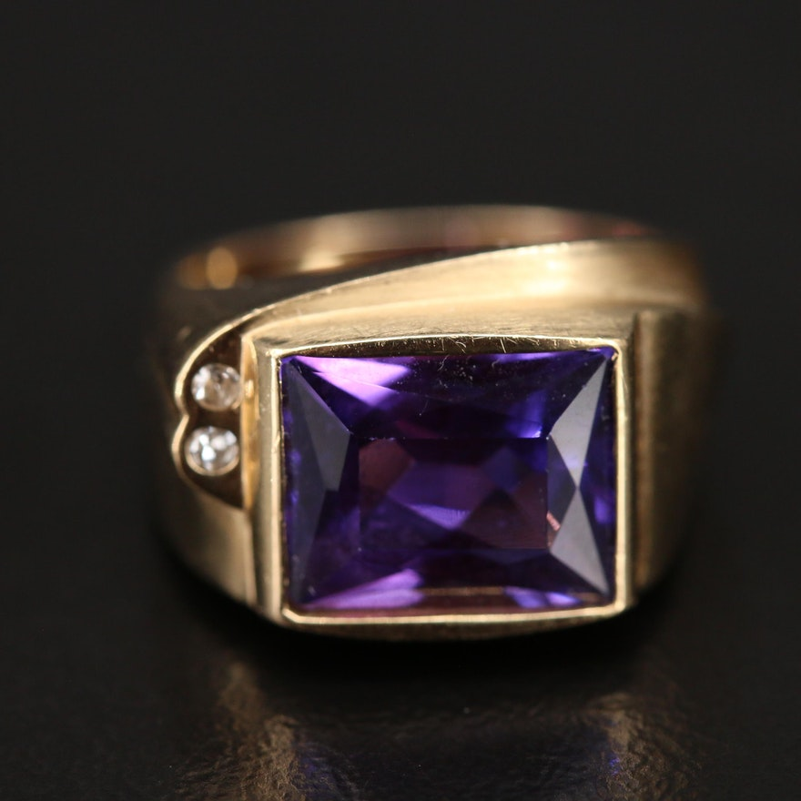Vintage 14K Sapphire and Diamond Ring with Euro Shank