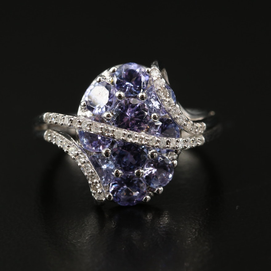 Sterling Silver Tanzanite and Diamond Crossover Cluster Ring