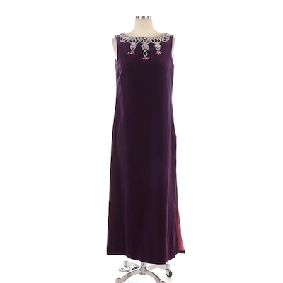 Dynasty Purple Velveteen Sleeveless Gown with Embellished Neckline