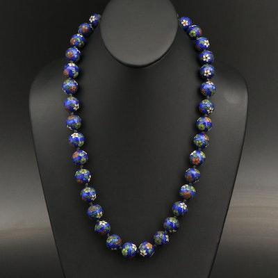 Cloisonné Floral Bead Necklace