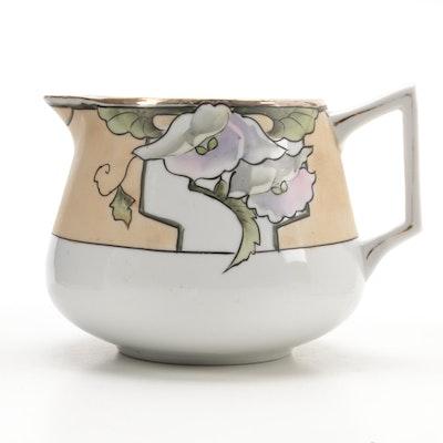 Art Decor Nippon Hand-Painted Porcelain Lemonade Pitcher, Early 20th Century