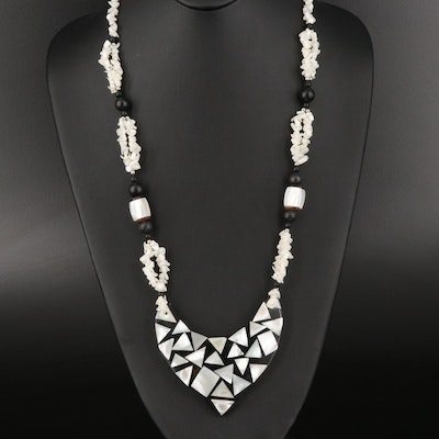Mother of Pearl and Resin Inlay Bead Necklace