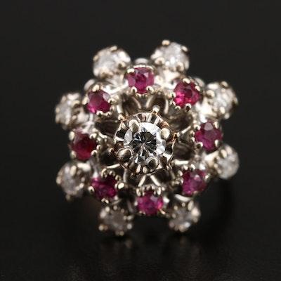Vintage 14K Diamond and Ruby Bombé Ring