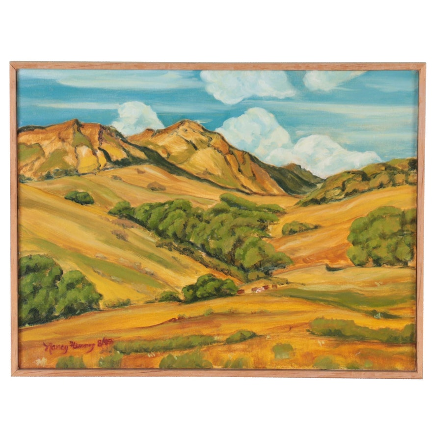 Nancy Flemming Landscape Oil Painting in the Style of William Wendt, 1999