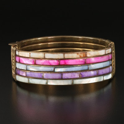 Mother of Pearl Multi-Row Inlay Hinged Bangle