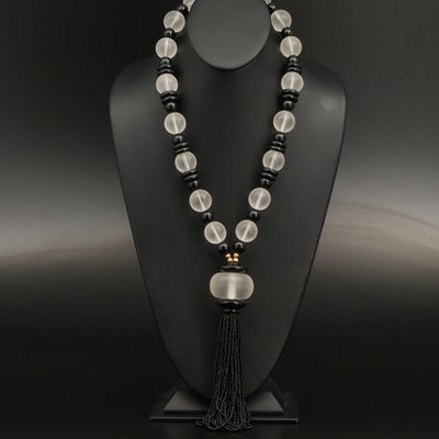 Acrylic Bead Necklace with Tassel