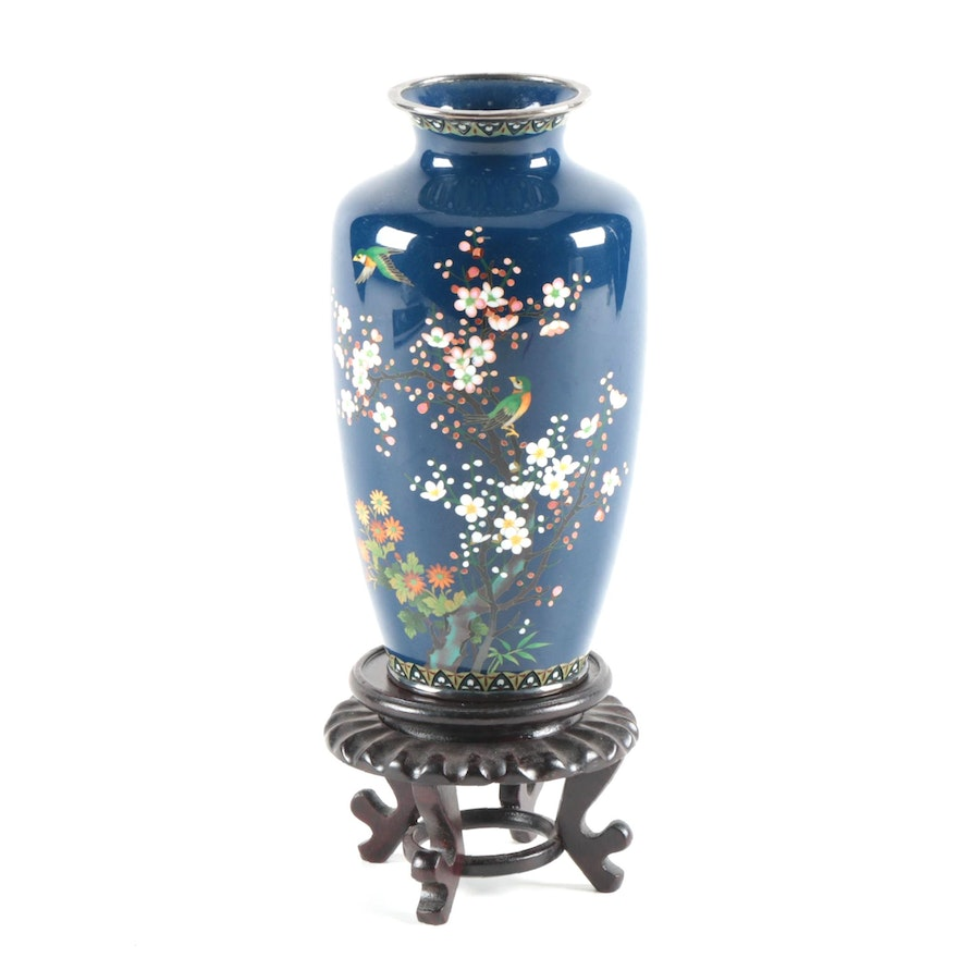 Japanese Cloisonné Vase with Nightingale, Cherry and Plum Blossom Motif