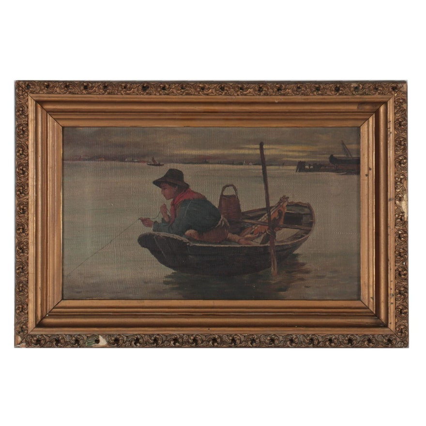 Italian School Genre Oil Painting of Young Fisherman, 19th Century