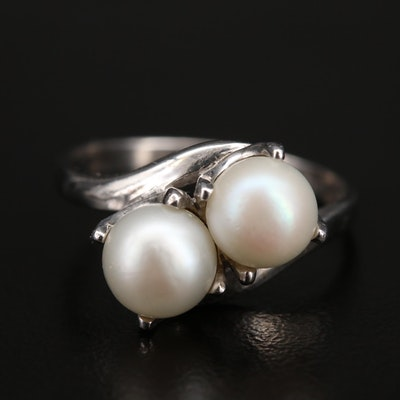 10K Pearl Two Stone Ring