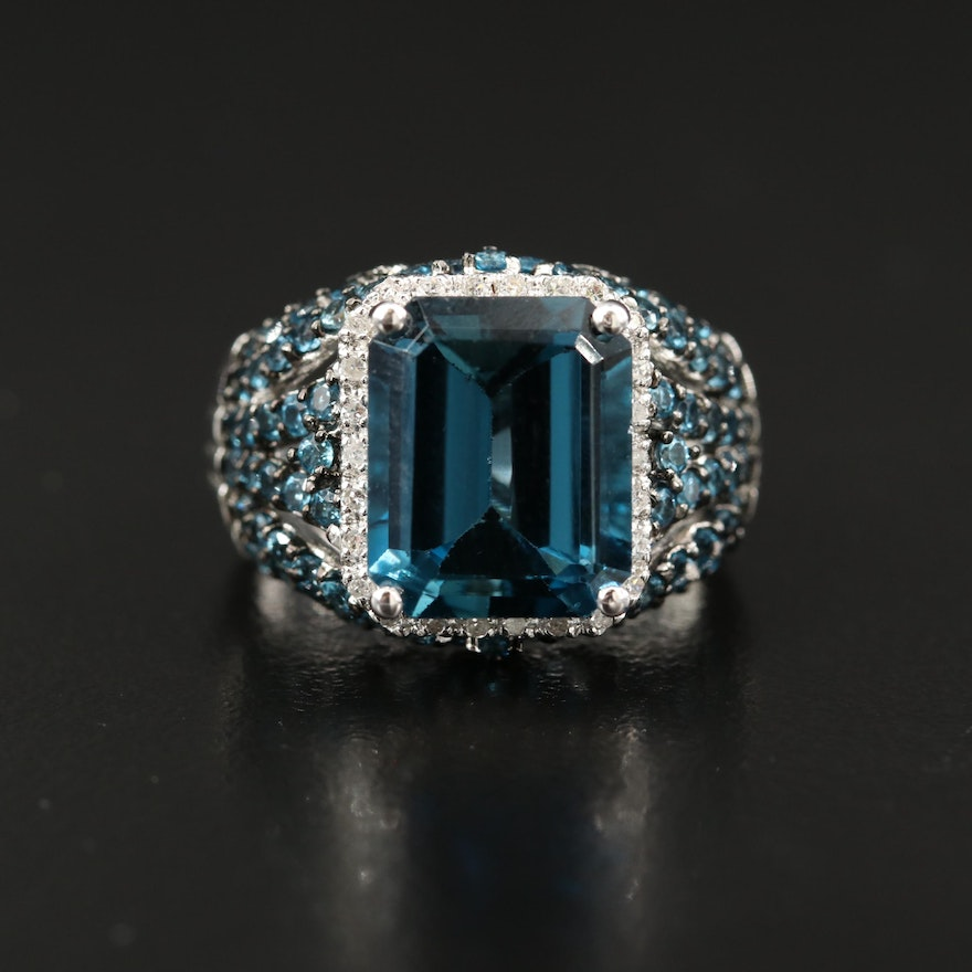 Sterling Silver London Blue Topaz and Diamond Ring