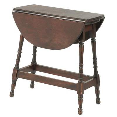 William and Mary Style Walnut-Finish Drop-Leaf Table, Early to Mid 20th C.