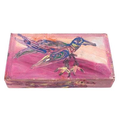 Robert Wright Bird Motif Folk Art Acrylic Painted Cigar Box, Late 20th Century