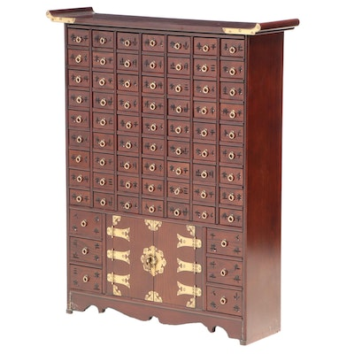 Chinese Style Brass-Mounted Sixty Nine-Drawer Apothecary Cabinet