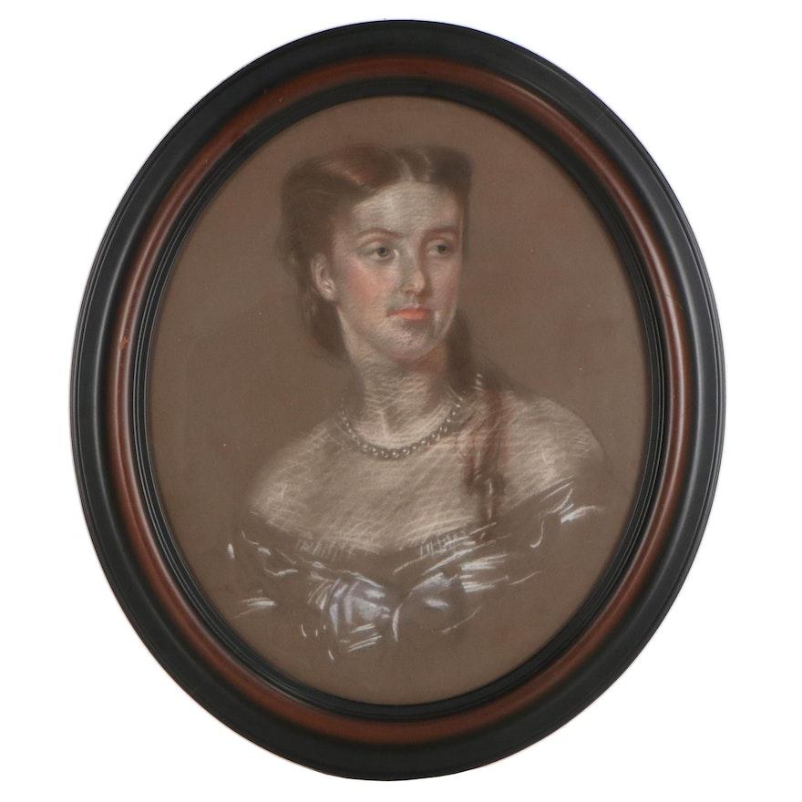 Anthony de Solomé Portrait Pastel Drawing of a Lady, 1859