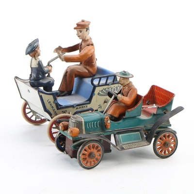 """Lehman's Windup """"Naughty Boy"""" and T.K.K. Japanese Friction Tin Lithograph Cars"""