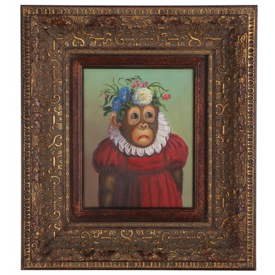 Anthropomorphic Oil Painting of Chimpanzee in Dress and Flower Crown