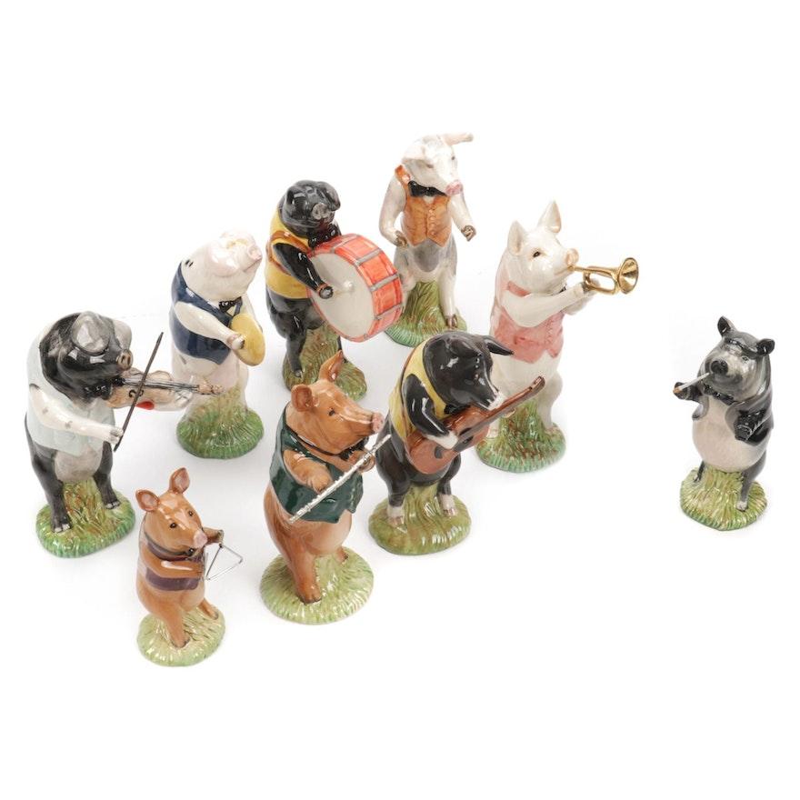 "Beswick ""Pig Promenade"" Ceramic Figurines, Late 20th Century"