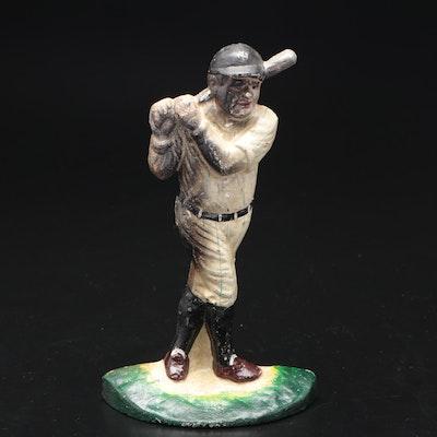 Hand-Painted Baseball Player Cast Iron Doorstop