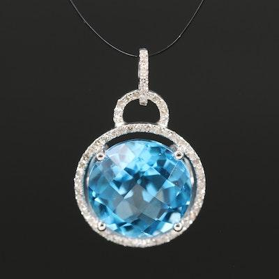 14K Blue Topaz and Diamond Halo Pendant