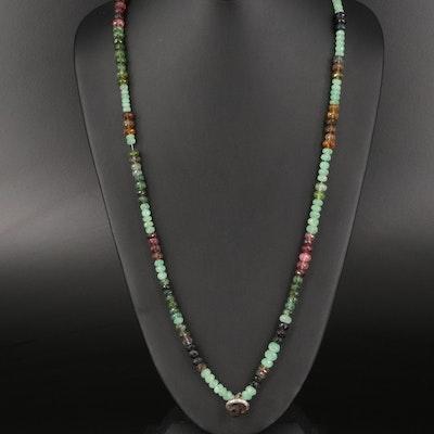 Sterling Aventurine and Tourmaline Bead Necklace with Smoky Quartz Acorn Pendant