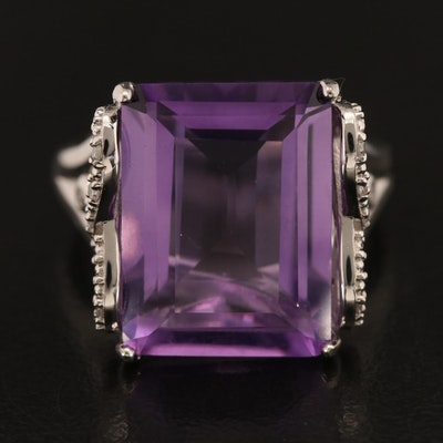 Eva LaRue Sterling Amethyst and Diamond Ring with Infinity Accents