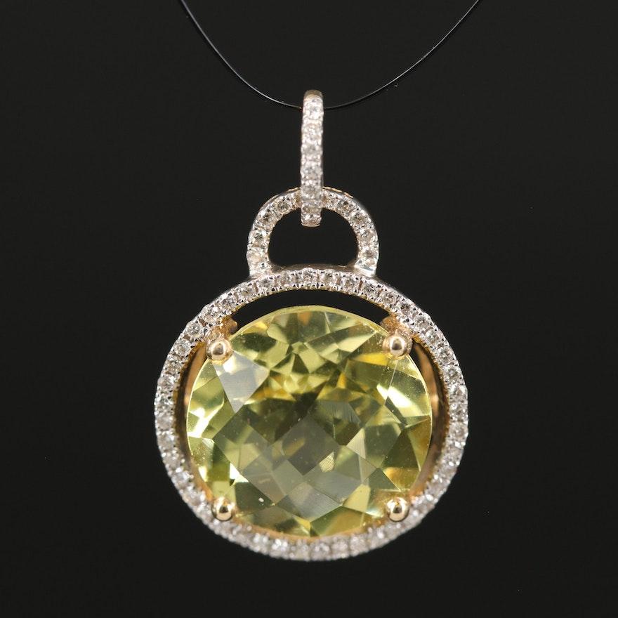 14K Diamond and Lemon Quartz Pendant
