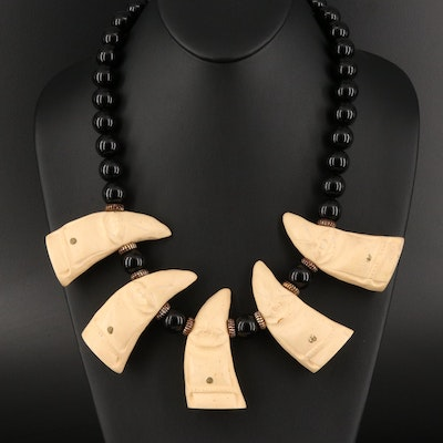 Vintage Black Onyx Bead and Carved Figure Necklace