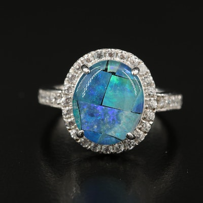 Sterling Silver Opal Doublet and White Zircon Ring