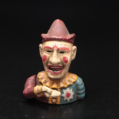 Hand Painted Cast Iron Clown Coin Bank
